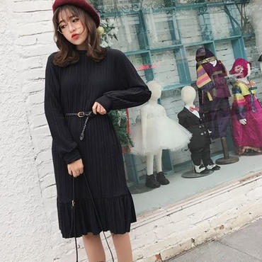 [ドレス ミディアム]♪シワレトロ感 ロングドレス(3color)(1size)♪