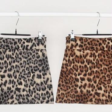 [ボトムス スカート]♪ヒョウ ミニ スカート ブラック・ブラウン(フリー)♪