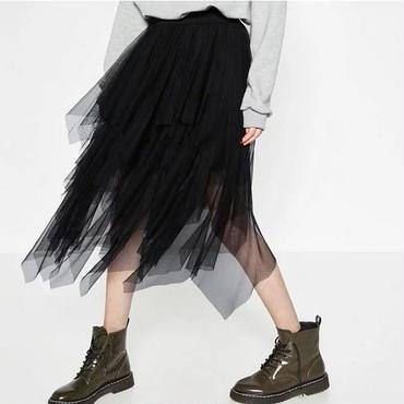 [スカート アンバランス]♪シースルー スカート ブラック(S,M,L)♪