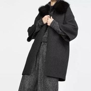 [アウター ジャケット]♪ファー カラー ジッパー コート ブラック(S,M,L)♪
