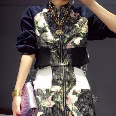 [アウター ジャケット]♪ジャガード花柄コーデュロイ ジップアップジャケット(1color)(XS,S,M)♪