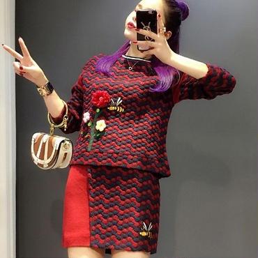 [トップス セーター]♪レッドポンポン 花&ハチのセータートップ(1color)(XS,S,M)♪