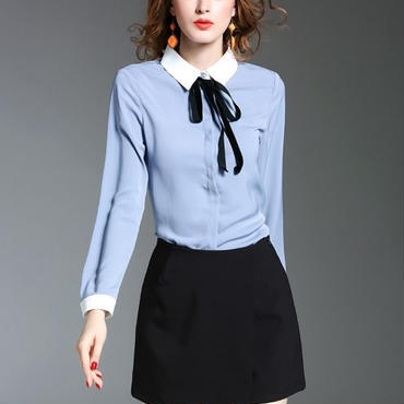 [セットアップ]♪ネックリボン ブルーシャツ&ブラック ミニショーツ スカート(1color)(S,M,L,XL)♪