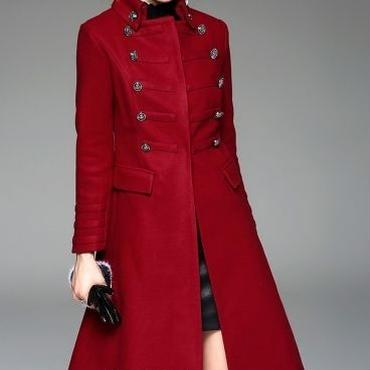 [アウター コート]♪デカコマニー ウール ロング コート レッド・カーキ(S,M,L,XL)♪