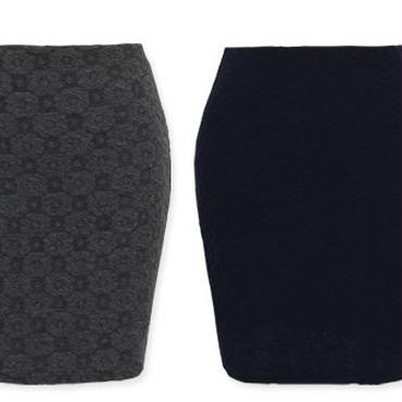 [スカート タイト]♪ドーナッツ ジャガード スカート マスタード・グレー・ネイビー・ブラック(フリー)♪