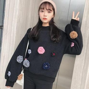 [トップス セーター]♪糸の花 モノクロセータートップ(2color)(1size)♪