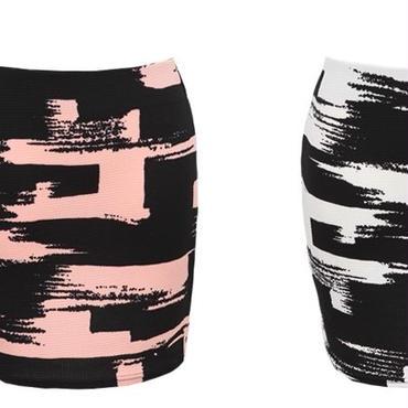 [ボトムス スカート]♪ペイント ミニ スカート ピンク・ブラック(フリー)♪