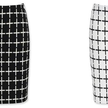 [ボトムス スカート]♪チェス スカート ブラック・ホワイト(フリー)♪