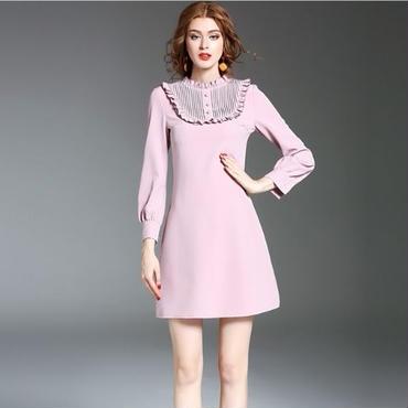 [ドレス ミディアム]♪ピンクフリルシャツ ネックドレス(1color)(S,M,L,XL)♪