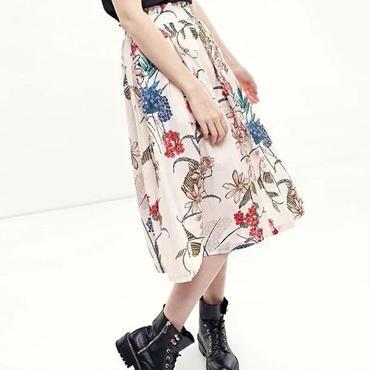 [スカート フレアー]♪つるの花 ロング スカート ホワイト(S,M,L)♪