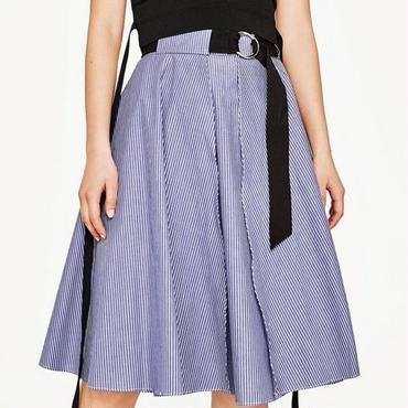 [スカート フレアー]♪ストライプ ウエスト ベルト スカート ブルー(M,L,XL)♪