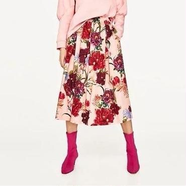 [スカート フレアー]♪春 カラフル 花柄 パターン ラッフル ロング スカート ピンク(S,M,L)♪