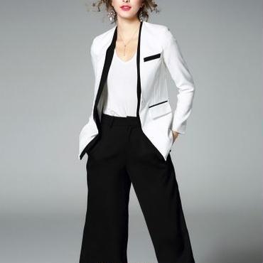 [セット]♪ジャケット&ワイドパンツ セット ブラック&ホワイト(S,M,L,XL)♪