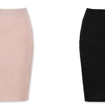 [ボトムス スカート]♪エンボス バラ スカート ピンク・ブラック(フリー)♪