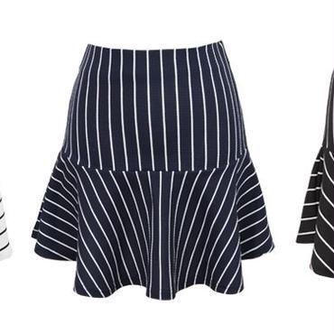 [ボトムス スカート]♪斜線 オープン スカート ホワイト・ネイビー・ブラック(フリー)♪
