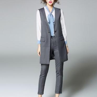 [セット]♪ロングノーカラー スーツ ベスト&スリムパンツ(1color)(S,M,L,XL)♪