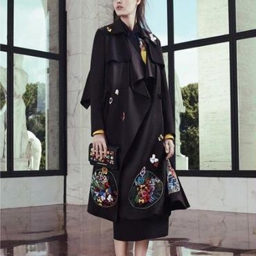 [アウター コート]♪ブラックスター刺繍 ビックカラー トレンチコート(2color)(S,M,L,XL)♪