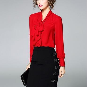 [セット]♪リボン レッド シャツ&ベルト スカート レッド&ブラック(1color)(S,M,L,XL)♪