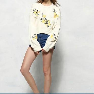 [セーター 長袖]♪レモン 刺繍 ラウンド セーター ブラック(フリー)♪