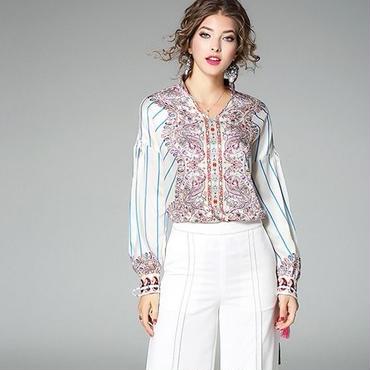 [トップス シャツ]♪タッセル リボン袖 ペイズリー シャツ ホワイト(S,M,L,XL)♪