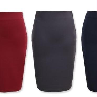[スカート タイト]♪四方 スパン スカート ココア・ワイン・ジーングレー・ネイビー・ブラック(フリー)♪