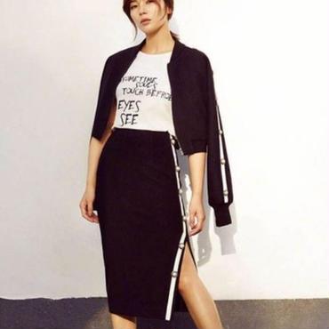 [セットアップ]♪ブラック ジップアップジャケット&ボタンスリットスカート(1color)(S,M,L)♪