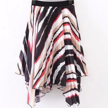 [スカート アンバランス]♪プリーツ 色とりどり 縞模様 スカート マルチカラー(M,L)♪