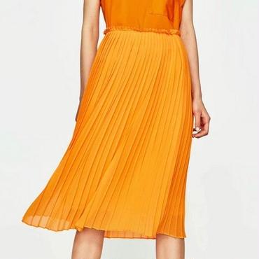 [スカート プリーツ]♪カラフル シフォン ロング スカート オレンジ・ブラック・グリーン(XS,S,M,L)♪