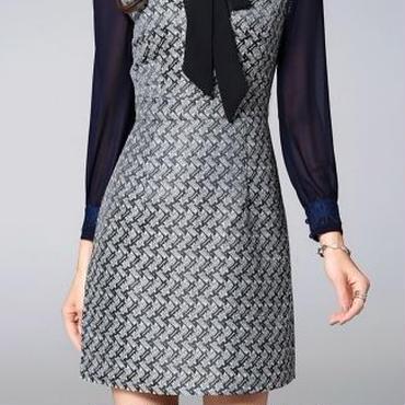 [ドレス ショート]♪シフォンスカーフ パターンワンピース(2color)(S,M,L,XL,XXL)♪