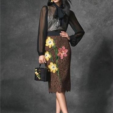 [セット]♪シースルー タイシャツ&フラワー スカート ブラック&ブラウン(S,M,L)♪