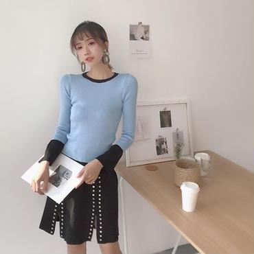 [セットアップ]♪ライトブルーニットトップ&シルバーオープン ブラックスカートセット(1color)(1size)♪