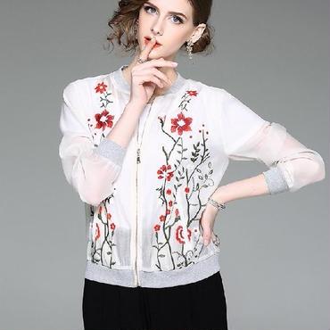 [アウター ブルゾン]♪長袖 花刺繍 夏 ブルゾン ホワイト・ネイビー(S,M,L,XL)♪
