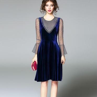 [セット]♪ドット シースルー シャツ&Vネック ベルベット ドレス(1color)(S,M,L,XL)♪