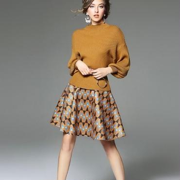 [セット]♪リングベルト ニットトップ&ウール スカート(2color)(S,M,L,XL)♪