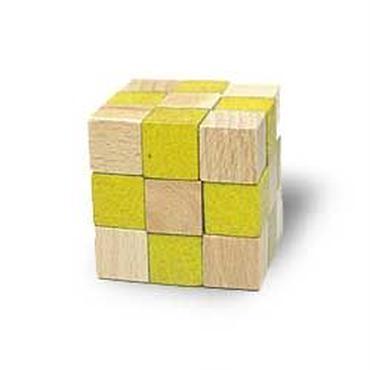 木製キューブ型パズル【コブラ/イエロー】
