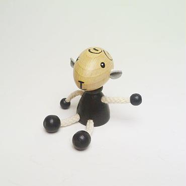 ミニ人形マグネット 羊ブラック