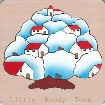 木製パズル 雪化粧の小さな木の町