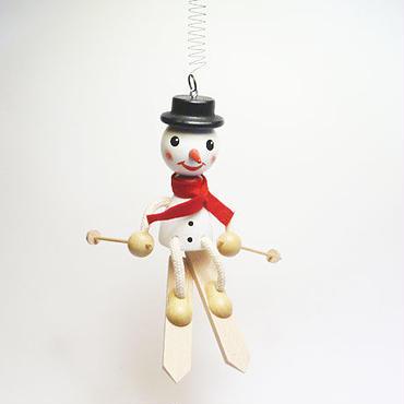 チェコおすわり人形 スノーマンonスキー バネ付 ABAfactory