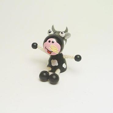 ミニ人形マグネット 牛ブラック