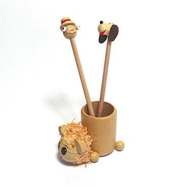 【入園祝いにおすすめ!】えんぴつ立てライオンとミニ人形えんぴつ2本セット