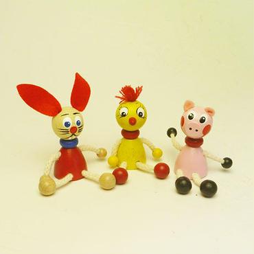 ミニ人形マグネット ブタ、ウサギ、ヒヨコ3体セット .