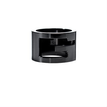 グッチ GUCCI リング 指輪 合成鋼玉 Gマーク アクセサリー GGリング 224031-J8400-8195-08 レディース メンズ ブラックシルバー 黒