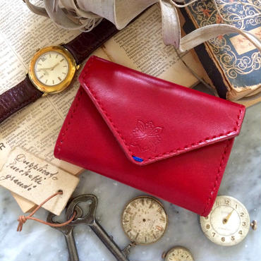 Letter - Leather Pass case / Rosso