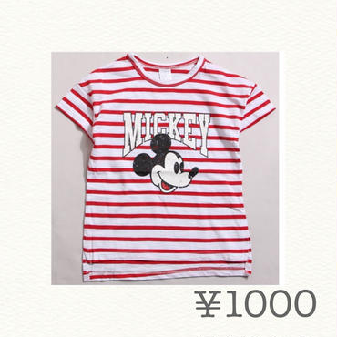 ボーダーミッキーTシャツ
