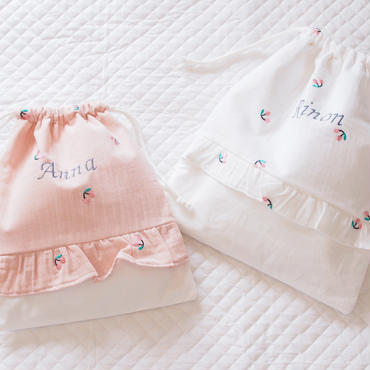 さくらんぼ刺繍の巾着袋Lsize