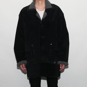 Black Suede Boa Coat