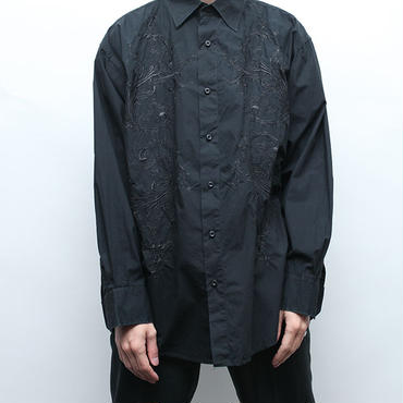 Embroidered Black L/S Shirt