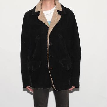 Schott Black Suede Boa Coat