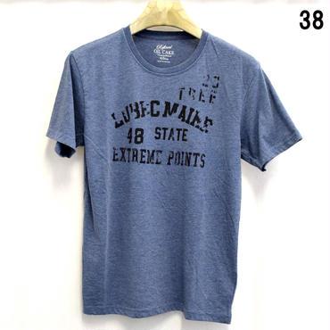 OILCAKE 天竺 ケミカル加工 プリント 半袖Tシャツ(6703-720,38,ネイビー)