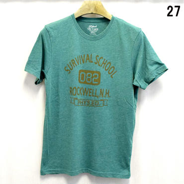 OILCAKE 天竺 ケミカル加工 プリント 半袖Tシャツ(6703-720,27,グリーン)